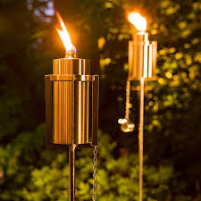 outdoor torch lighting. tiki torches with a contemporary twist keep pesky bugs away sleek stainlesssteel outdoor torch lighting 2