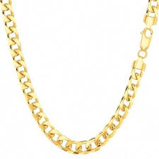 Cuban Link Chain Necklace in 14K Yellow <b>Gold</b>, Adult Unisex, <b>Size</b> ...
