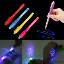 1PC <b>Creative</b> Stationery LED Highlighter Pen Magic <b>2 In 1</b> UV Black ...