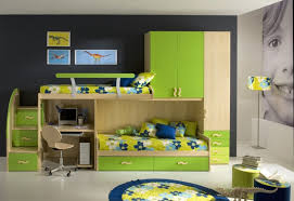 green and beige solid wood bunk bed with desk yellow flower pattern bed linen black chalkboard kids room contemporary biege study twin kids study room