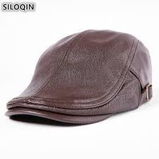 Solid <b>SILOQIN</b> Genuine Leather <b>Mens</b> Autumn <b>Winter</b> Hats ...