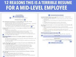 horrible resume for mid level employee business insider