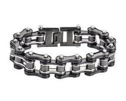 "9"" Biketober <b>Bike</b> Bicycle Chain Bracelet <b>Stainless Steel</b> Black Silver ..."