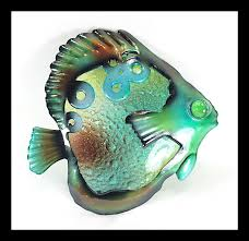 blue fish tropical metal wall  discus tropical fish metal and glass teal wall