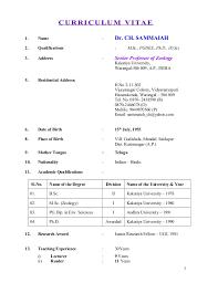 Prof.Ch.Sammaiah Biodata/CV. CURRICULUM VITAE 1. Name : Dr. CH. SAMMAIAH 2.
