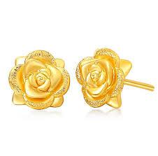 Real Solid 24K Yellow Gold Earrings <b>Women's Rose</b> Flower Stud ...