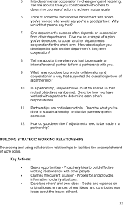 behavioral situational interview question bank table of contents one department s success often depends on cooperation from other departments give me an example of