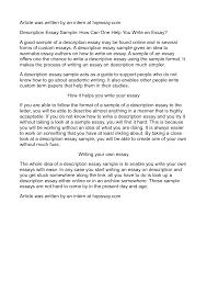 description of an essay example of description essay sample descriptive essay