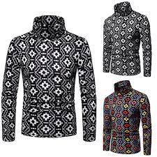 TaLs9yLI Sweaters for <b>Men Simple Geometric</b> Print Winter High ...