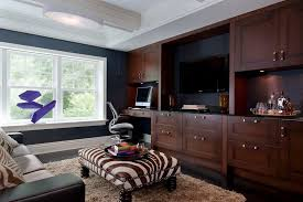 contemporary den ideas home office contemporary with coffered ceiling shag rug dark wood floor blue home office dark wood