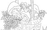 Раскраски корзинка с грибами
