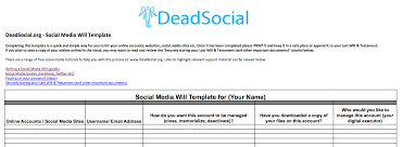 deadsocial prepare for death digitally build your digital social media will template