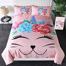 Sleepwish Pink Caticorn Bedding Cute Unicorn Cat ... - Amazon.com
