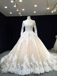 <b>Ball</b> Gown Long Sleeve <b>Lace Champagne</b> Wedding Dress ...