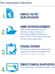 admissions requirements college of professional studies pre admission checklist