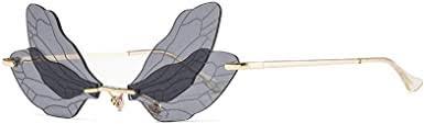 Fashion Rimless Dragonfly Wing Sunglasses Women ... - Amazon.com