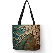 <b>Customized Cherry Blossom</b> Oil Paint Tote Bag For Women Lady ...