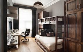 bedroom home office. small bedroom with bunk beds and home office
