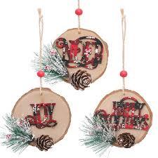 <b>3 Pcs/lot New</b> Christmas Wooden Tree Pendants Hanging ...