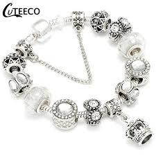 CUTEECO <b>925 Fashion Silver</b> Charms Bracelet Bangle For Women ...