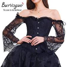 Womens Princess Renaissance Corset <b>Floral Ruched</b> Sleeves ...