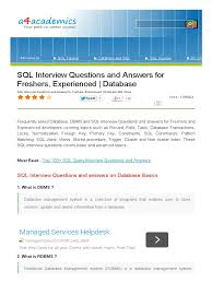 sql interview questions and answers for freshers experienced sql sql interview questions and answers for freshers experienced sql databases