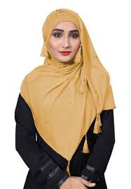 Daily Wear Hosiery Cotton Plain Pearl <b>Tassel</b> Work Scarf <b>Hijab</b> For ...