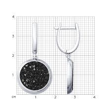 Серебряные <b>серьги</b> с чёрными кристаллами <b>Swarovski</b> ...