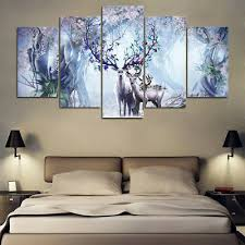 HD Printed Painting <b>5 Pieces</b> Abstract <b>Beautiful Flower</b> Deer Family ...