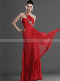 Fitted Bodice Dress Beading One Shoulder Fitted Bodice Flowing Long Chiffon Prom Dress