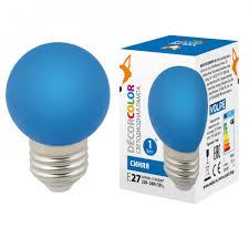 """<b>Лампа</b> светодиодная <b>LED</b>-<b>G45</b>-<b>1W</b>/<b>BLUE</b>/<b>E27</b>/<b>FR/С</b> Форма """"шар ..."""