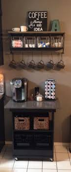 coffee bar made from old microwave cart makeover shelf from hobby lobby built coffee bar makeover