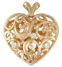 Эстет <b>Подвеска Сердце с фианитами</b> из красного золота ...