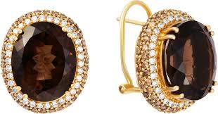 <b>Серьги с бриллиантами</b>, <b>раухтопазами</b> из желтого золота ...