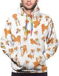 Men's Hoodie Shiba Inu Dog Pattern Sweate ... - Amazon.com