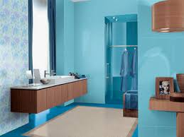 Bluebrown Color Scheme Light Blue Bathroom Paint And Wooden Cabinets  M