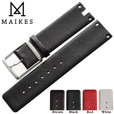 <b>MAIKES New</b> Watch Band Strap Genuine Leather Black White <b>High</b> ...
