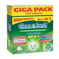 <b>Таблетки для</b> посудомоечных машин <b>Clean & Fresh</b> All in 1, 100 шт.