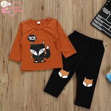 2pcs/1set <b>Baby Toddler Boy Cartoon</b> fox Printing Top + Trousers ...
