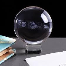 <b>3D</b> Solar System Crystal Ball Planets Glass Ball <b>Laser Engraved</b> ...