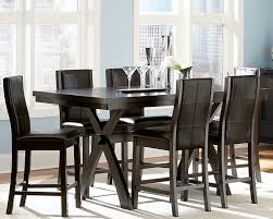 size dining room contemporary counter: modern black counter height dining room set with rectangular x base dining table and dark