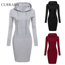 CURRADA <b>Fashion Hooded Drawstring Fleeces</b> Women Dresses ...