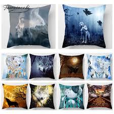 <b>Fuwatacchi Wolf</b> Animal Decor <b>Cushion</b> Cover Howl Moon 3D Print ...