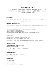 resume examples cna resume objectives sample resume sle of cna nursing assistant sample resume for nursing aide