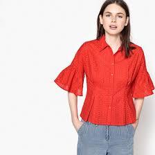 <b>Рубашка</b> из английского шитья, расширяющиеся рукава красный ...