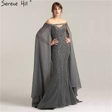 Grey <b>Luxury Heavy Beading</b> Evening Dress 2019 With Detachable ...