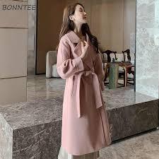 Blends Women <b>Elegant</b> Korean Style Winter <b>Coats</b> Pockets Slim ...