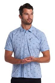 Buy Barbour® Blue <b>Summer Print Short Sleeve</b> Shirt from the Next ...