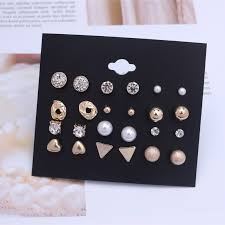 <b>12 Pairs</b>/Set Bohemian Natural Stone Stud Earrings Trend <b>Punk</b> ...