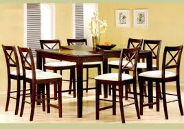 dining sets seater: pc cappuccino wood counter height dining table uamp  chairs set